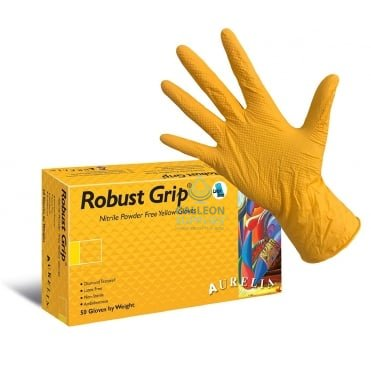 Robust Grip - Yellow Nitrile Gloves - Powder Free