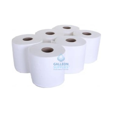 Embossed 2 Ply White Centrefeed Rolls